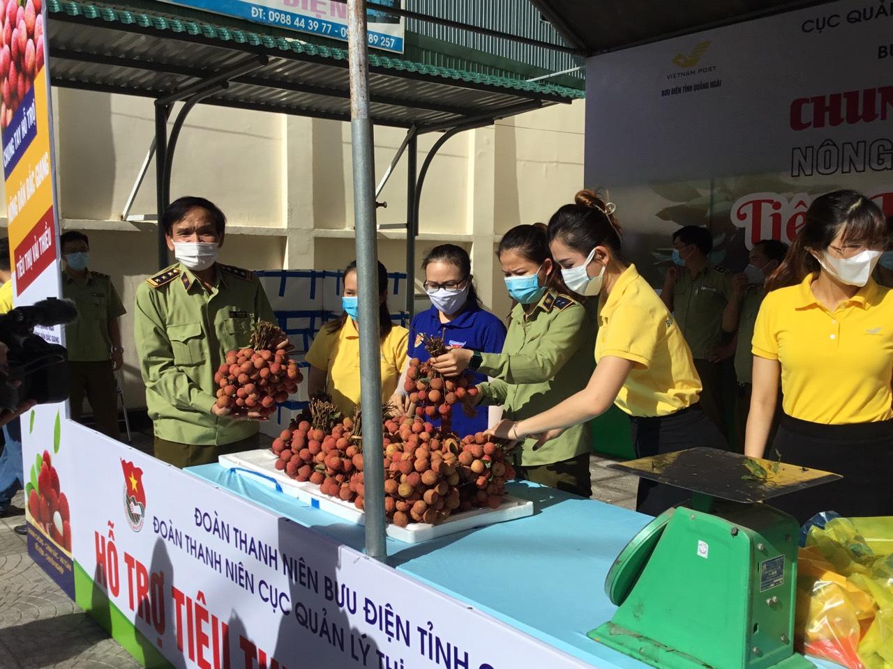 Cục Quản lý thị trường tỉnh Quảng Ngãi phối hợp với Bưu điện tỉnh kết nối tiêu thụ vải thiều Bắc Giang